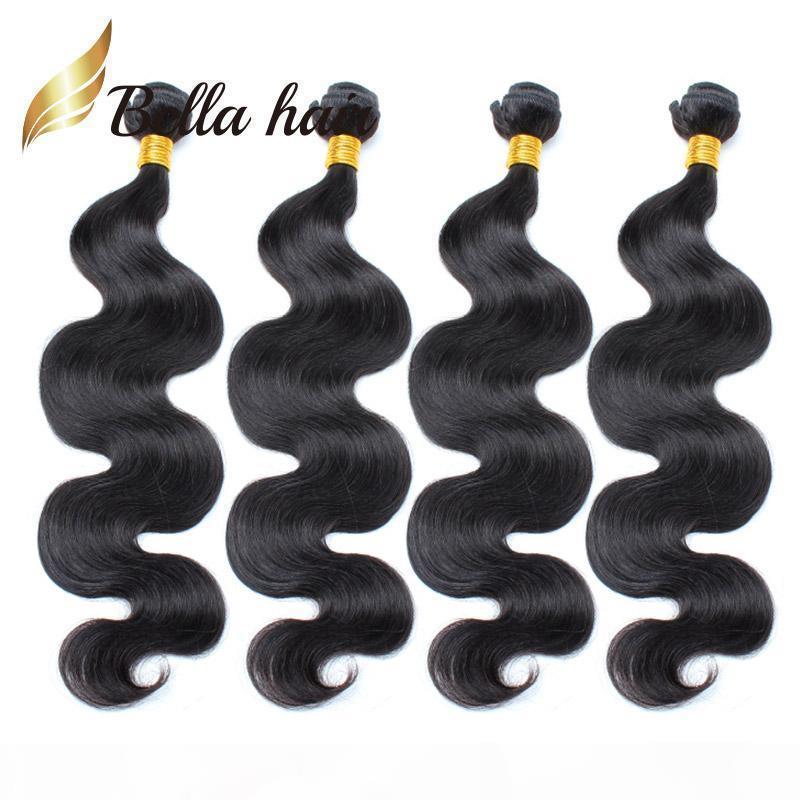 Cabello de Bella? 100% sin procesar Extensión del cabello humano brasileño de color natural Tejido de pelo 4 paquetes 9a onda ondulada onda libre envío gratis