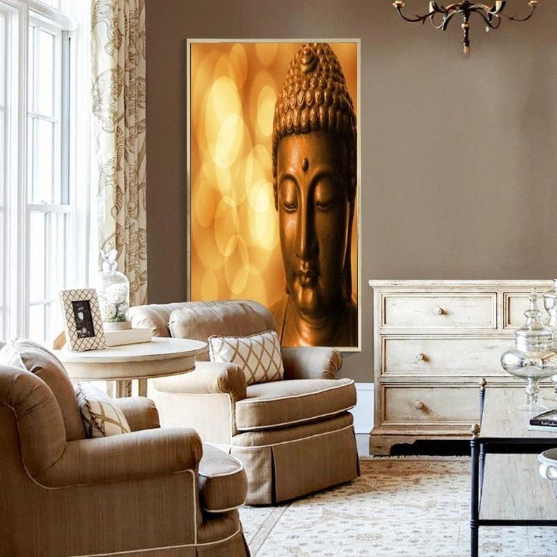 1 Самоклеющаяся Аннотация UNFRAME Изображение Изображение Wall Art Картина Будды Home Decor подарков sEVh #
