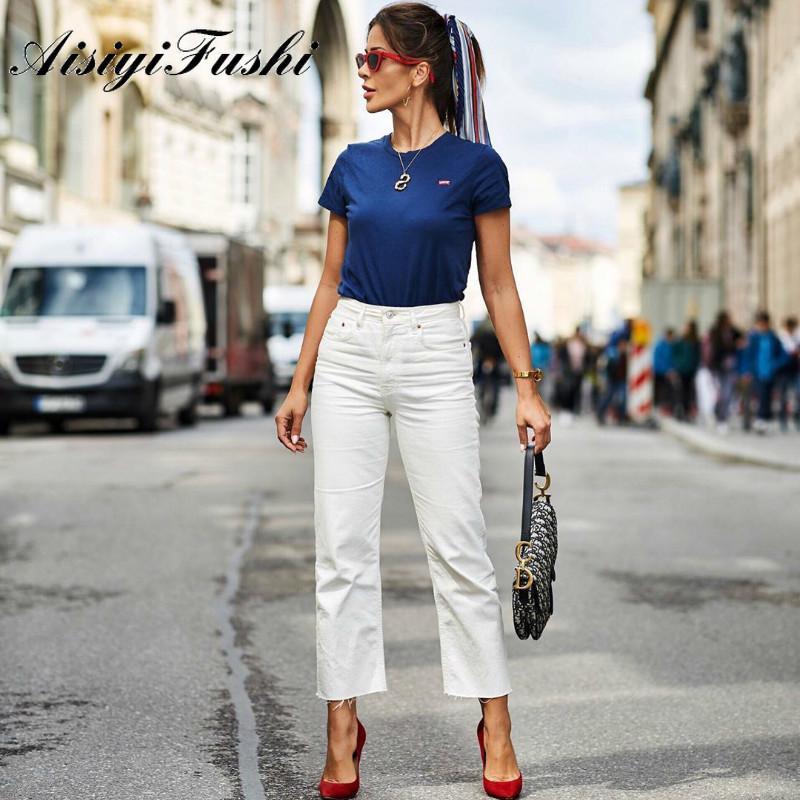 Kadın Kot Aisiyifushi Geniş Bacak Artı Boyutu Vintage Bayanlar Erkek Arkadaşı Kadınlar Için Anne Yüksek Bel Düz Gevşek Kot Pantolon