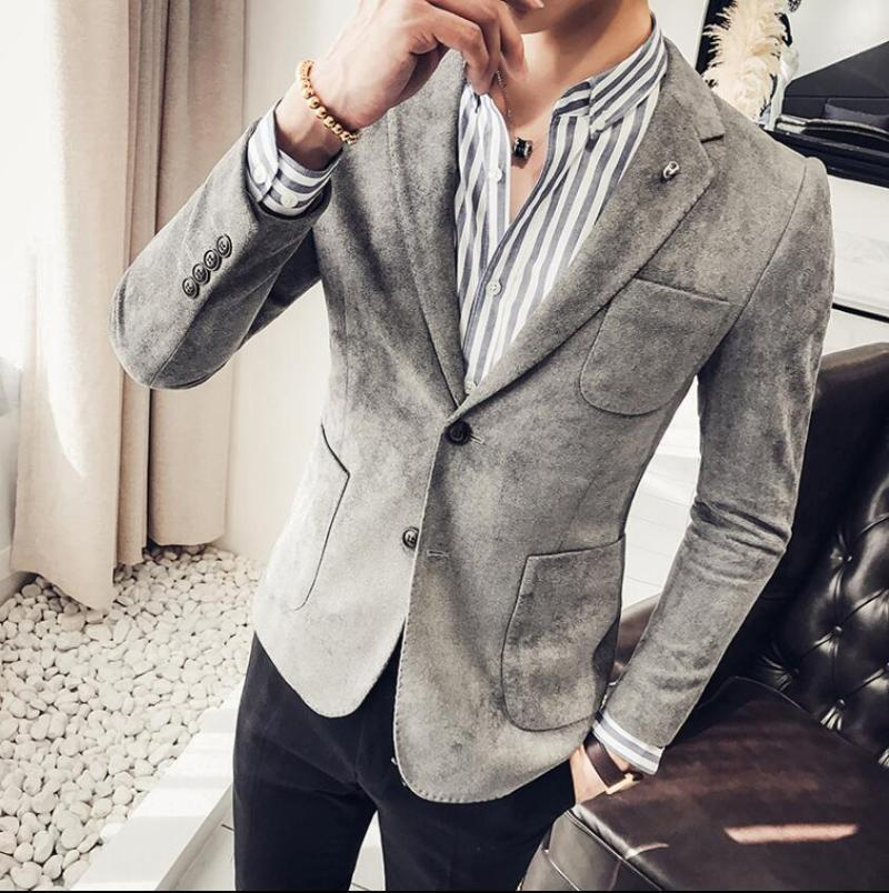 Hommes Menswears Casual 2021 Business Slim Slim Slim Blazer Sude Blazer Faux Cuir Jacket1