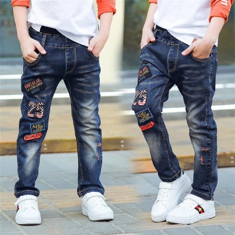 Classic spring autumn children's infant soft denim boy OR girl jeans casual trousers,Boy patch jeans. 3 5 7 8 10 12 14 years old 201102