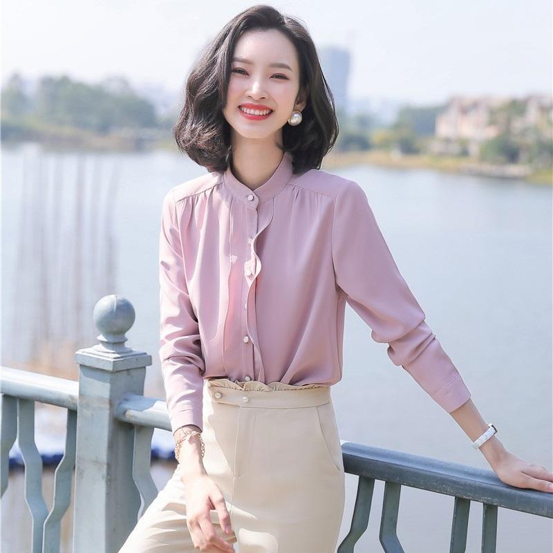 Blusas de las mujeres Camisas 2021 Moda Mujer Blusa Work Wear Oficina de manga larga Oficina Las Tops Estilos Pink