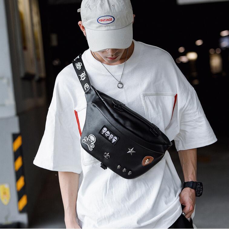 wholesale men handbag street trend rivet punk shoulder bag new men fashion leather chest bag outdoor leisure leather back cycling bag