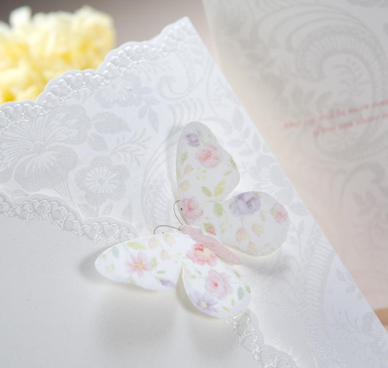 Wholesale-hot ! 50pcs/lot Classic White Colorful Butterfly Tri-fold Wedding Invitations Cards With E sqcquU homes2007