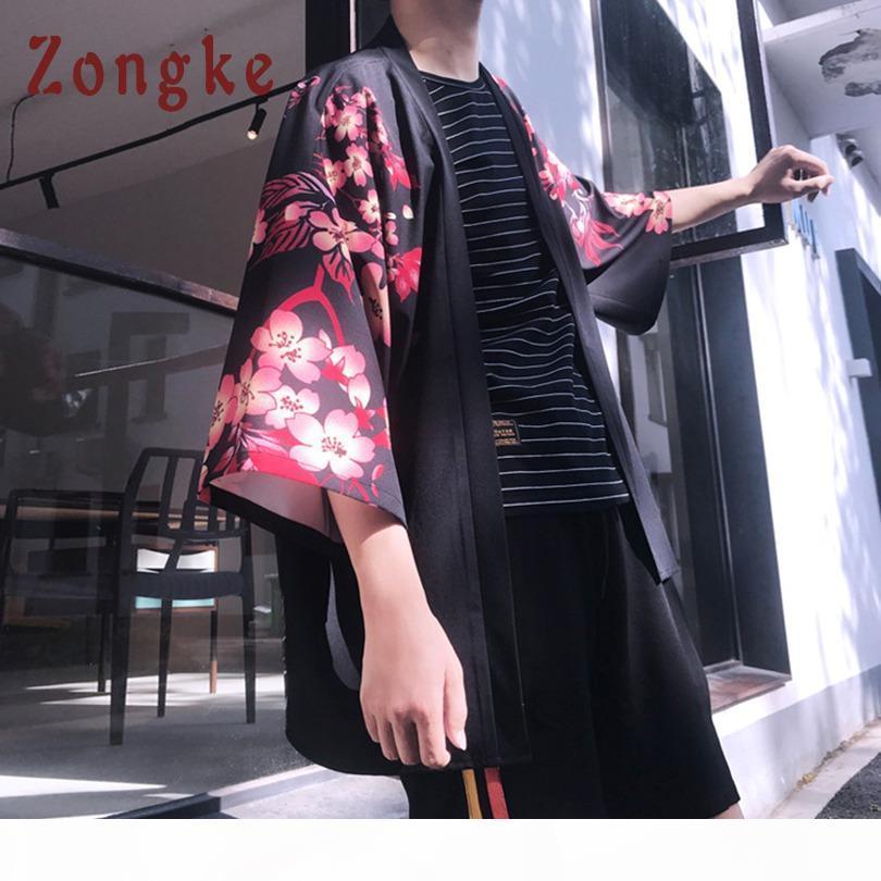 Zongke çiçek kimono hırka erkekler uzun sazan ve kiraz baskı kimono hırka erkekler japon geleneksel 2018 yaz yeni