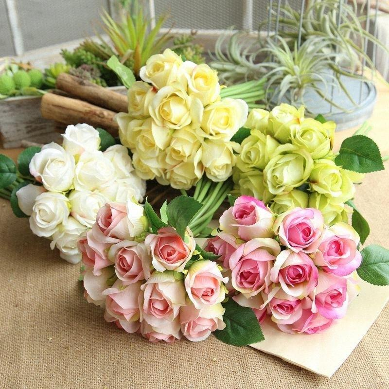 14head Artificiale Rose Wedding Bouquet fiori Bianco Rosa Royal Rose Fiori di seta della decorazione della casa della festa nuziale della Mi4v #