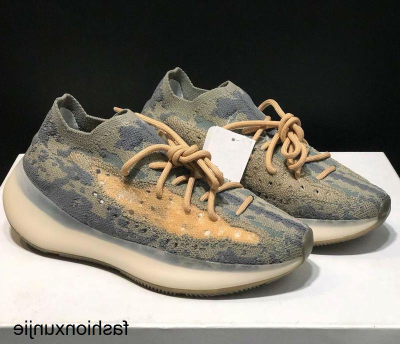 380 туман бегущих мужчин женщин Kanye West Wave Runner 3M не отражающие коричневые кроссовки обувь