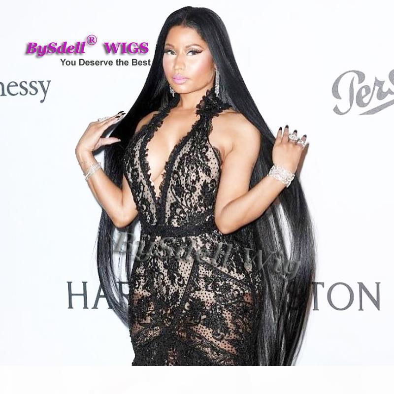 Celebridad Nicki Minaj Super Lamera larga Synthetic Negro 32 pulgadas 52 pulgadas 70 pulgadas de cintura de 70 pulgadas Longitud de longitud de seda Peluca de cuero cabelludo de peluca completa