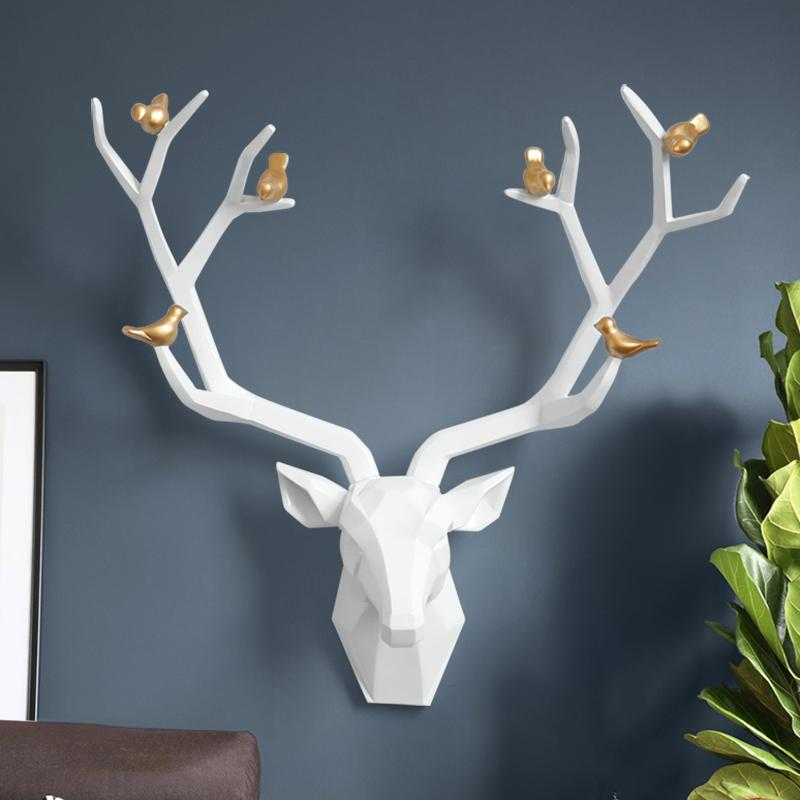 Resin 3d big deer head wall decor for home statue decoration accessories Abstract Sculpture modern Animal head room wall decor T200619