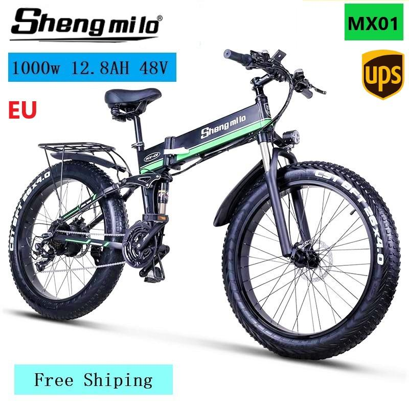 MX01 26 Inch Folding Electric 1000w Mountain bike 4.0 City Fat Tire Electric Bicycle 48V Lithium-Battery Shengmilo Ebike