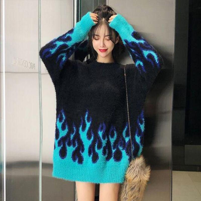 Осень и зимняя мода пламя пламя свободный с длинным рукавом свитер женщины Y200720