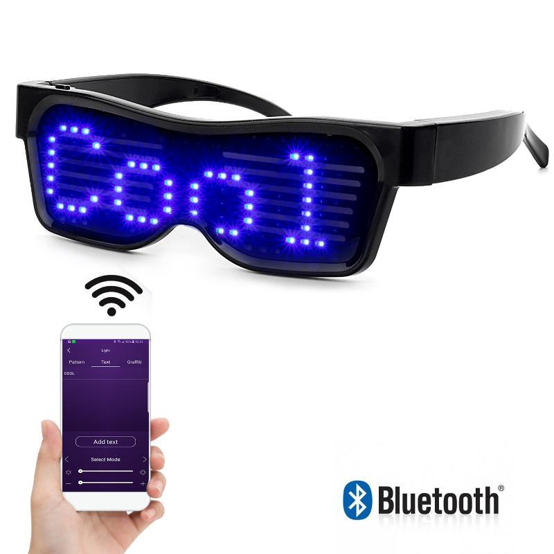 Bluetooth APP Control LED Glasses per lampeggiante - Messaggi di visualizzazione, animazione, DJ Holiday Party Birthday Children's Toy Regalo