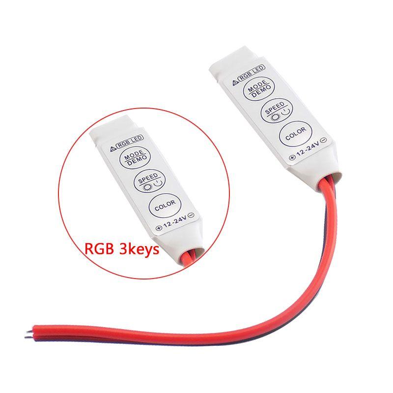 1 stücke LED Streifen RGB Controller Dimmerschalter DC 12V LED Single Color Mini 3Key Controller für SMD 5050 3528 5730 LED Band Licht