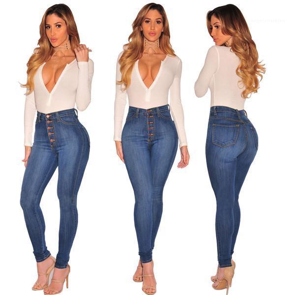 Femmes Sexy High Elastic Hip Ascenseur Crayon Pantalon Fashion Casual Button Fly Slim Denim Pantalons pour femmes High Taille Jeans