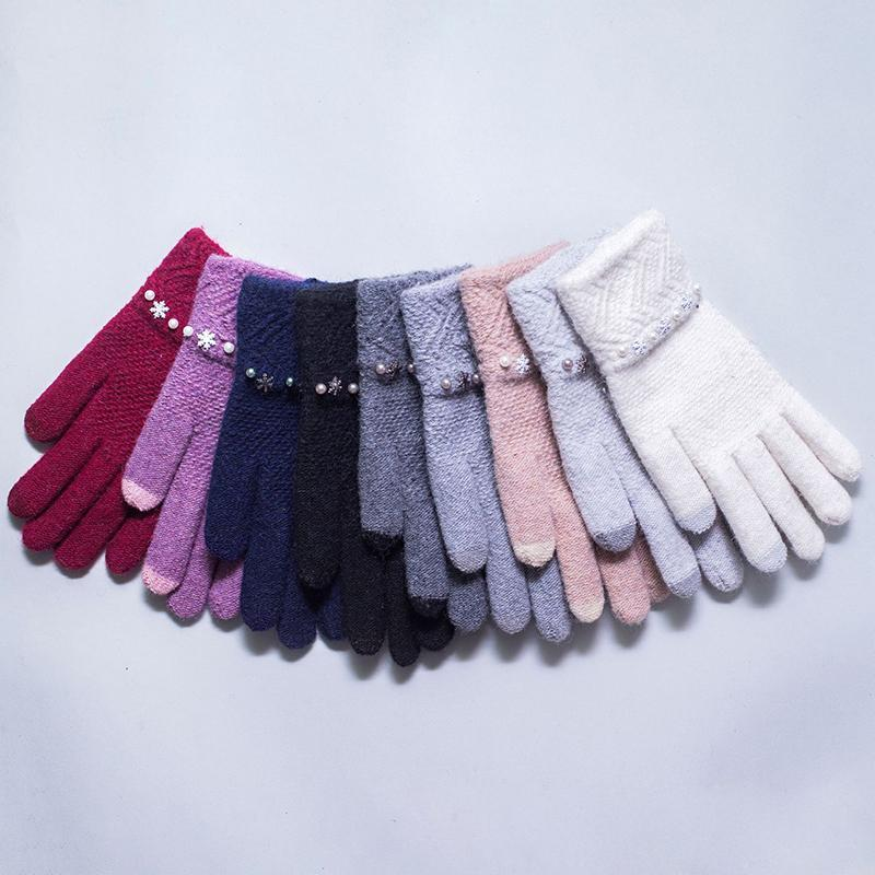 Пять пальцев перчатки перчатки леди зимний сенсорный экран плюс флис теплый замшевый прелестный студент велосипедный привод с утолщенным холодным