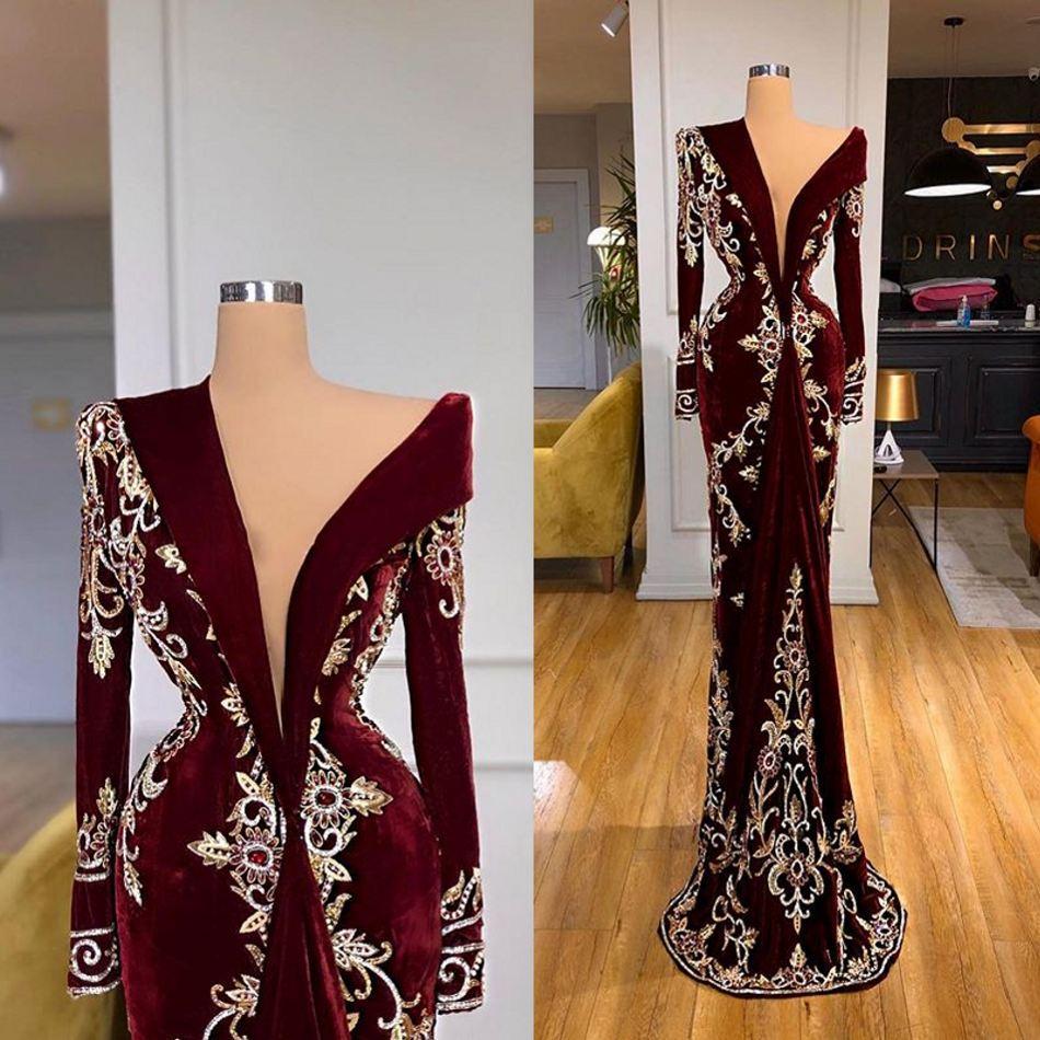 2021 Borgogna Velvet Abiti da sera in pizzo Appliques manica lunga da sera elegante abiti Red Carpet vestido de novia