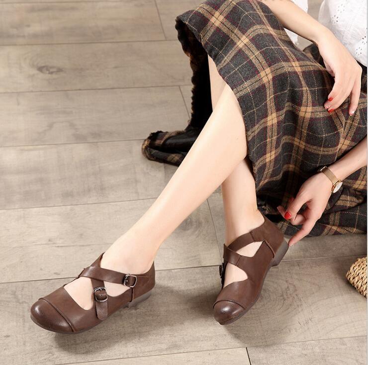 Женская обувь ручной работы 2020 весна и летнее новое кожаное искусство ретро круглые ножки сандалии крест ремень ремешок этнический стиль одиночные туфли