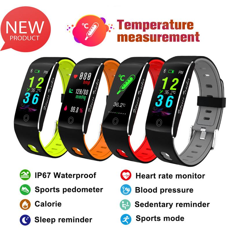 F10T body temperature bracelet sports all-weather body temperature, heart rate, blood pressure and blood oxygen monitoring glass craft smart