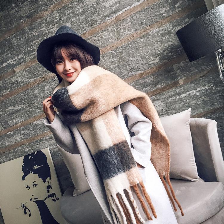 Sortie coréenne Version coréenne longue écharpe tassel épaissie chaude chaude en automne et