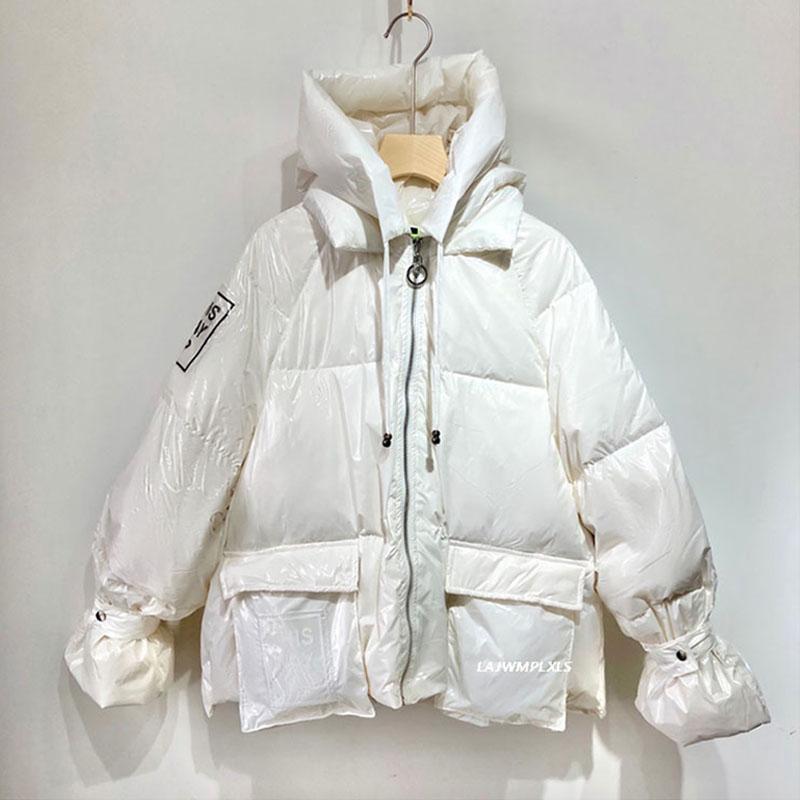 Nuevo 2020 brillante chaqueta con capucha brillantes de las mujeres de invierno Mujer patrón de la letra Casual Bolsillos gruesa capa caliente abajo Yrf226