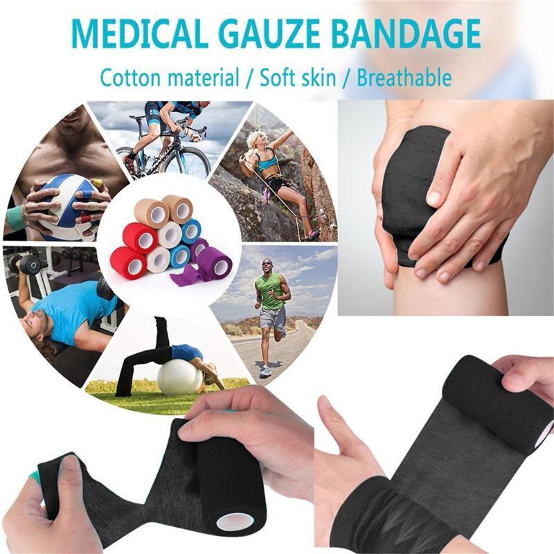 Color Muscle Knee Pads Protección Herramienta Cuidado Vendaje Cinta Deportes Elástico Terapéutica Cinta Knee Pads Para Gimnasio Fitness Vendaje