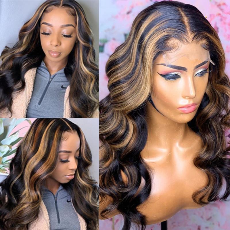 Resaltar la onda del cuerpo de la peluca Ombre 13x6 cabello humano peluca de color del frente del cordón pelucas 180 Densidad del frente del cordón del cordón de la peluca pelucas de pelo humano Preplucked