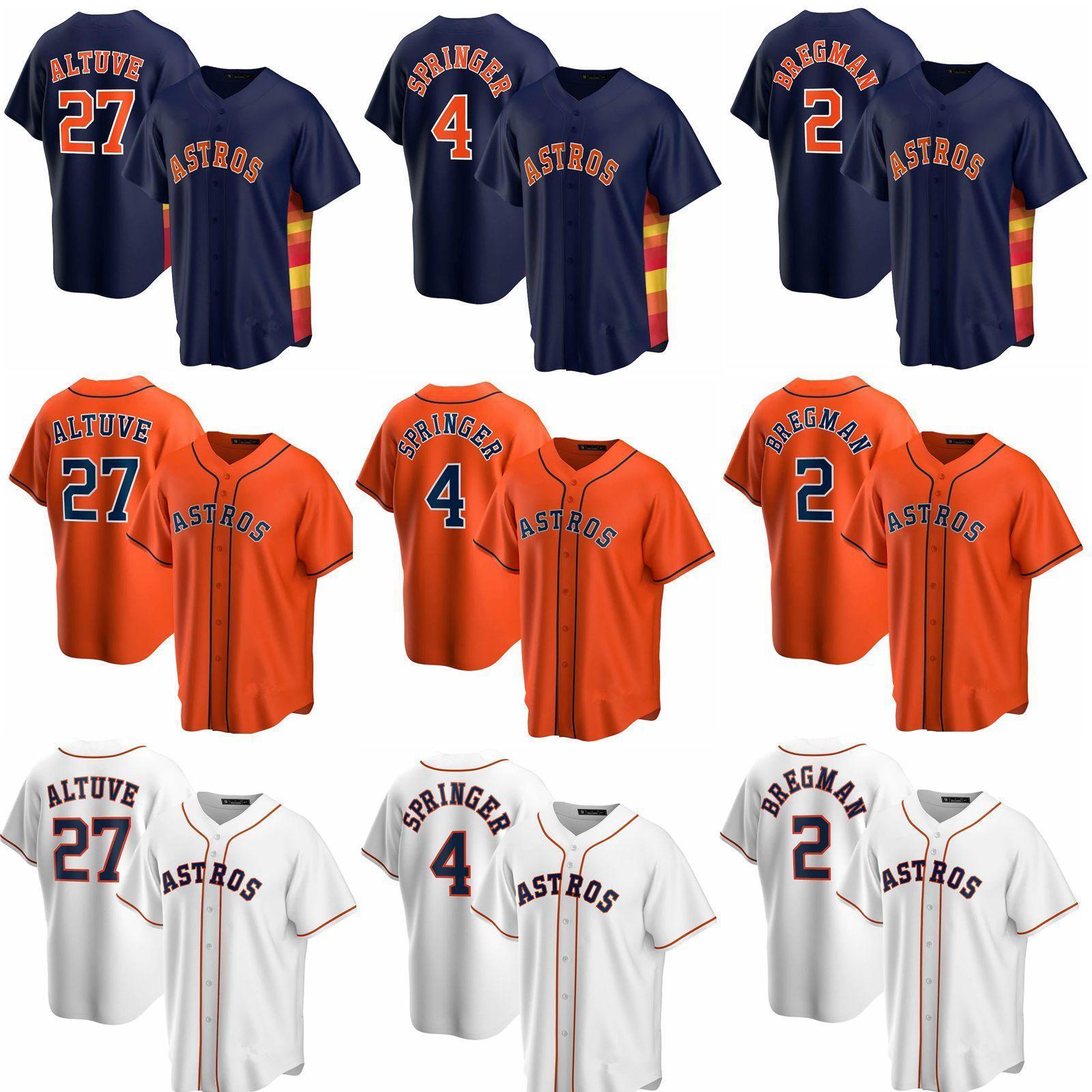 Personalizado 27 Jose Altuve Alex Bregman Homens Mulheres Crianças 2020 Nova Replica Autêntica Houston 4 George Springer Astro # Bordado Jerseys Beisebol