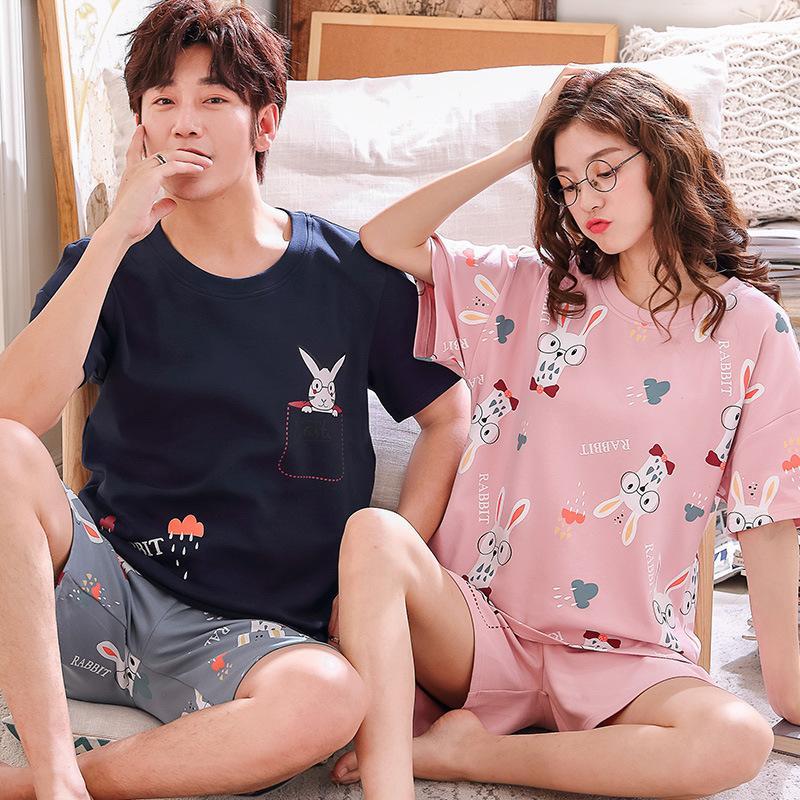 Pajamas de verano algodón pantalones cortos de manga corta para mujer, pijamas de hombre ocasional, pijamas sueltas, tamaño, tamaño, par, pareja de utensilios de dormir, traje Y200708