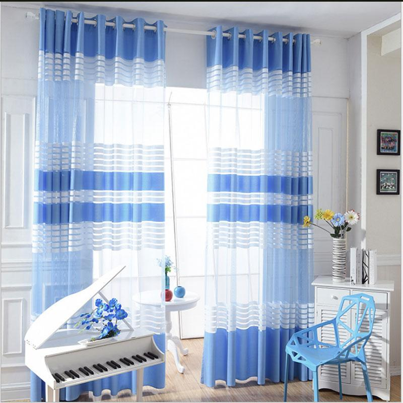 Elegant Sky Blue White Polyester Cloth Modern Simple Striped Bedroom Sheer Window Curtains for Living Room Tulle Curtain
