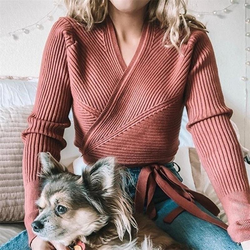 Outono inverno malha camisola mulheres v-pescoço slim slim camisola senhoras camisola encalça feminina casual camisola jumper lj200918