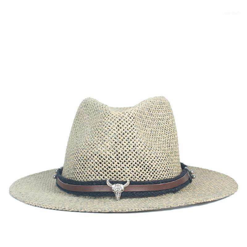 Rafya Saman Yaz Şapka Kadın Panama Hasır Şapka Fedora Beach Tatil Kadınlar Için Geniş Brim Visor Casual Güneş Şapkaları Sombrero Cap1