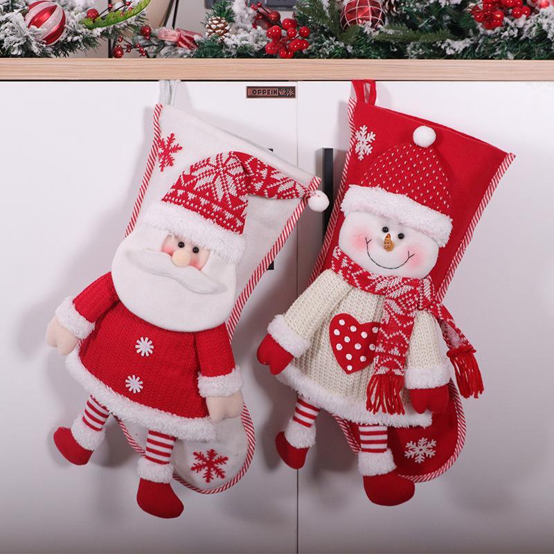 Быстрая доставка Красный и белый Танцы СТАРИК ручной работы рождественские носки Большой мешок подарков Рождественские украшения Сочельник конфеты носки F6002