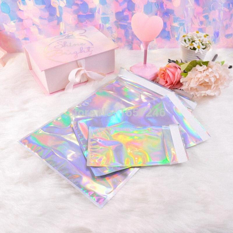 50pcs Laser Self Sealing Plastic Envelopes Mailing Storage Bags Holographic Gift Jewelry Poly Adhesive Courier Packaging Bags mCXL#