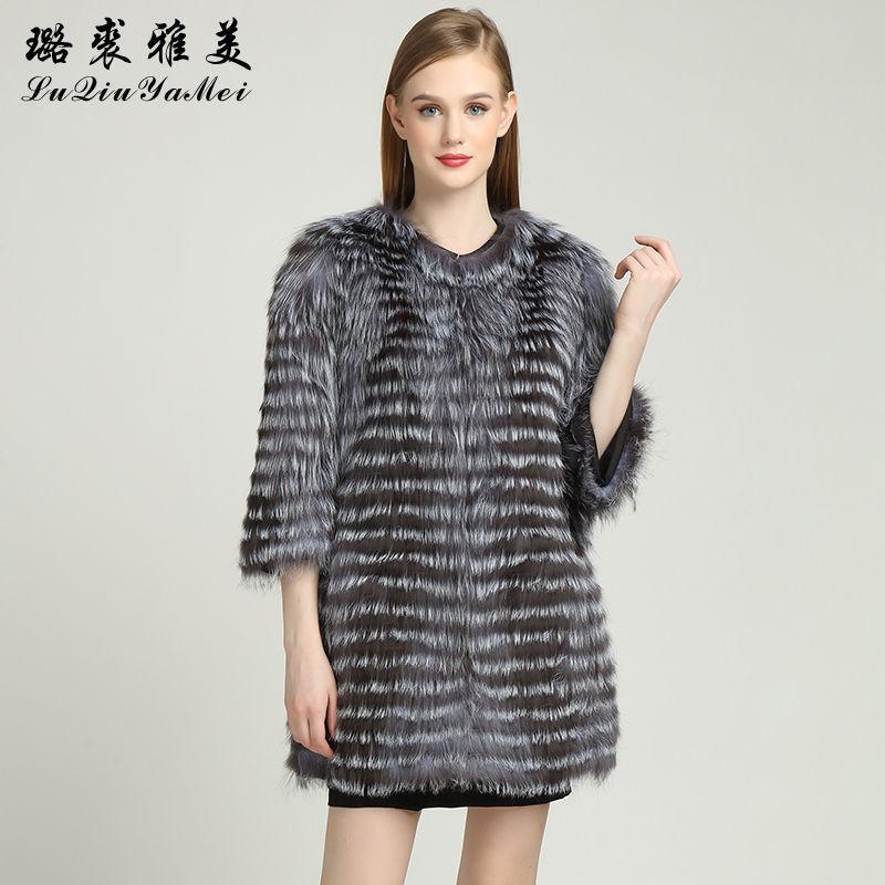 Echtes Leder-Silber für Frauen reale Mantel-Winter weiblichen Jacken dünne Fox Gestreifte Mäntel Pelz Art und Weise Outwear