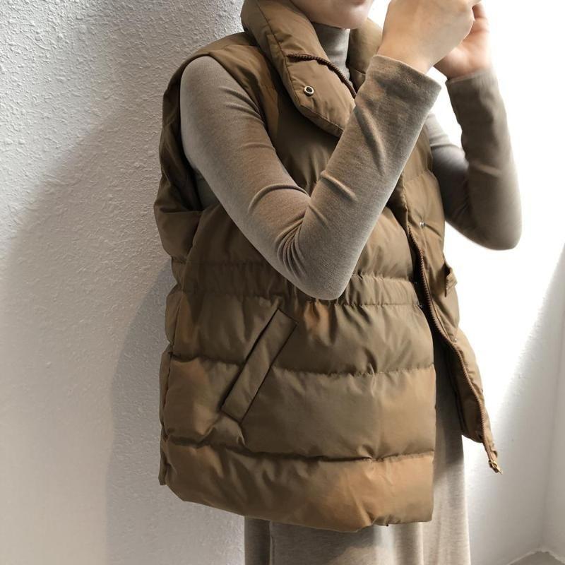 Зимняя весна теплый жилет Корейский стойкий воротник талии ремень Свободное пальто Утолщение короткого хлопка Жилет женские пиджаки