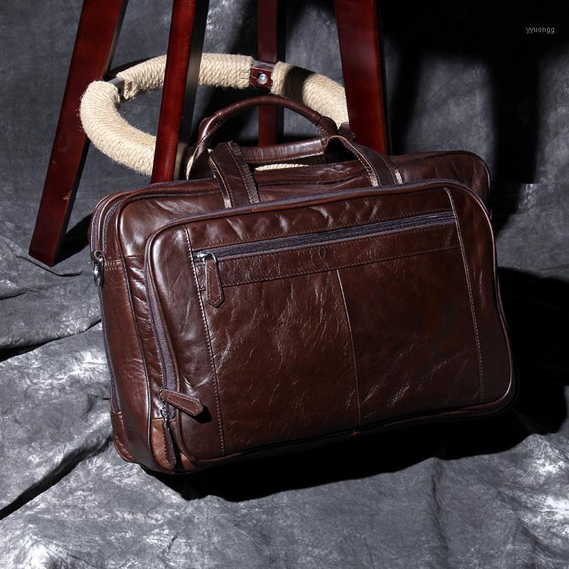 PastaCases Retro de Alta Qualidade Genuíno de Couro Masculino Bolsa Casual Simples Natural Grande Capacidade Bag Bag1