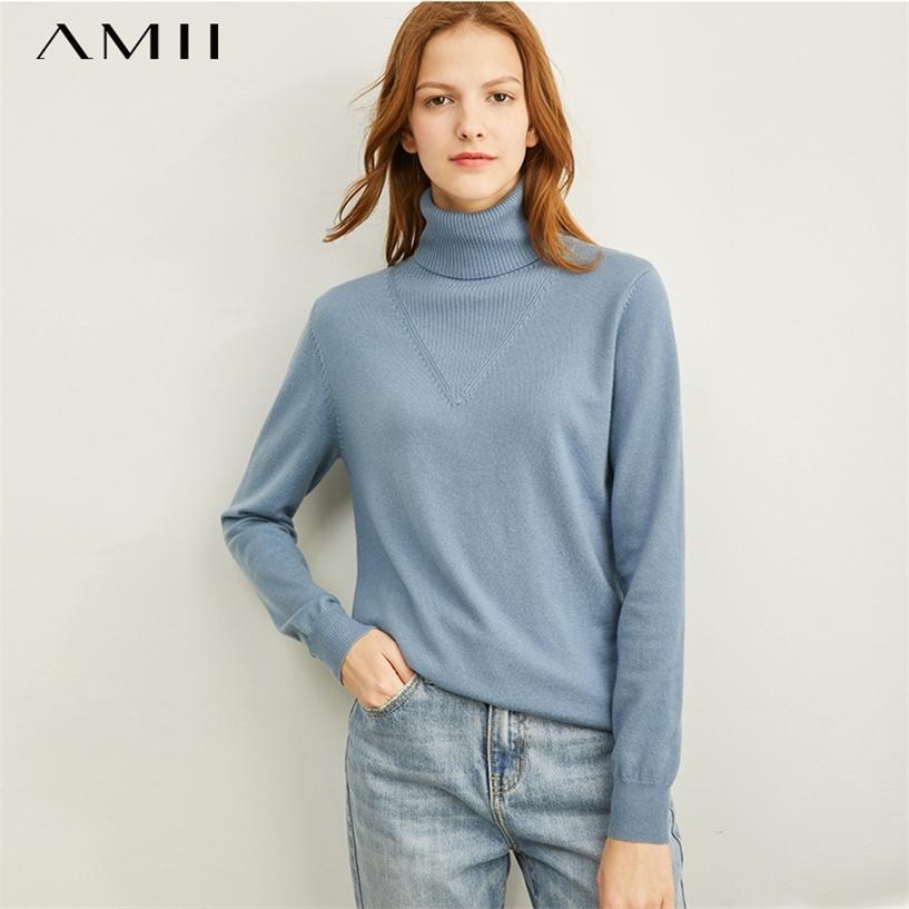 Amii de invierno moda sólido tortuga de tortuga suave cremoso-azul suéter mujer causal manga completa suave kulever tops 11970812 201222
