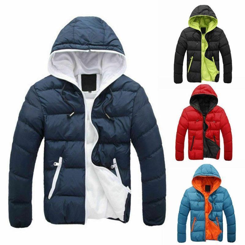 Winter Hot Sale Jacke Cotton Zipper Warme Männer Kapuzen Boy Mantel Thick Süßigkeit Mantel dünne Art- und Farbe Männer Jacke Zipper A5D3