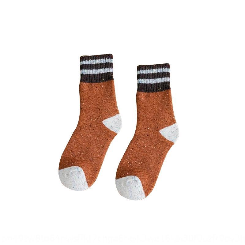Kış yeni pamuk orta sockswomen Terry noktası orta tüp çoraplar çizgili yiv pamuklu çorap s58ls