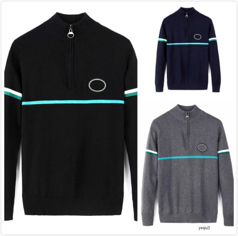 Mens Designer Suéter suéteres de cocodrilo Jersey Luxury Thicken Cálido Cálido Marca Alta Calidad Cremallera Collar de pie