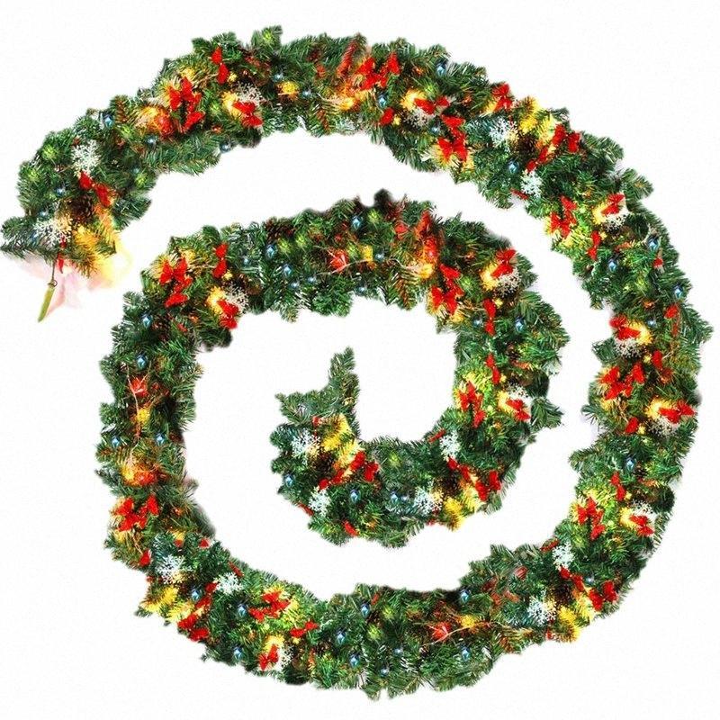 9FT / 270cm Guirnalda de Navidad verde simple con blanco cálido LED luz de guirnalda artificial Chimenea Árbol de Navidad Decoración G3NW #