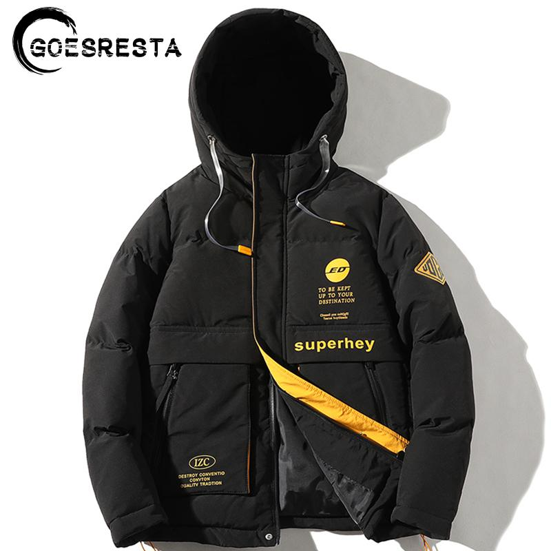 GOESRESTA Brand Winter Jacket Men Hooded Thermal Solid color cotton coat Fashion Casual Thicken Parker Jacket men Clothing 201028
