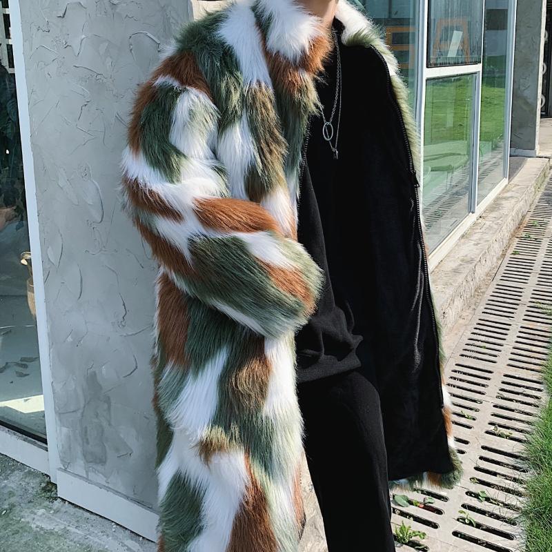 Мужская меховая искусственная зимняя куртка мужчины чаатес гомбе Большой размер теплый ветрозащитный плащ хип-хоп одежда кожа камуфляж цветочный