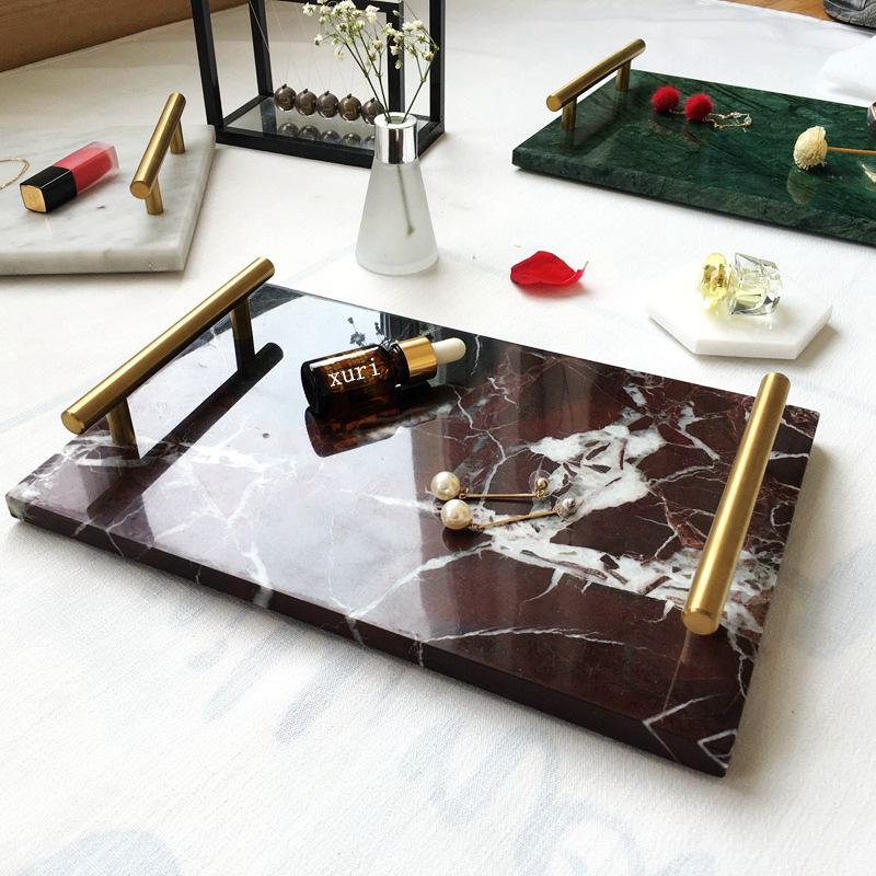 Tablett Multicolor Tetragonum Marmor Arts and Crafts Ornament Metal Palette Hotel Dusche Room Home Möbalisierende Gericht Hersteller Direct Sel 45xr P1