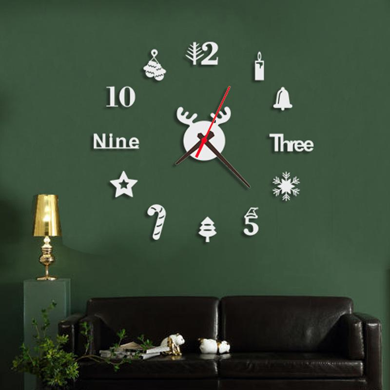 Wall Sticker Home Chrismas Decor Number Mirror Wall Clock Unique Gifts 3D Background Wall Clock DIY Home Living Room Office Decor Art