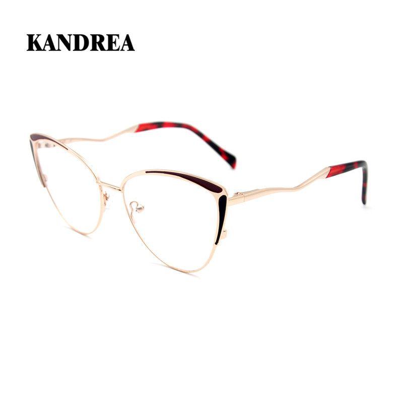 Kandrea 2020 Nouvelles femmes surdimensionnées Verres optiques en métal surdimensionné Cadre femelle Cat Eye Cadres Lecture Lunettes de vue Clair Lentille Myopia Eyewear
