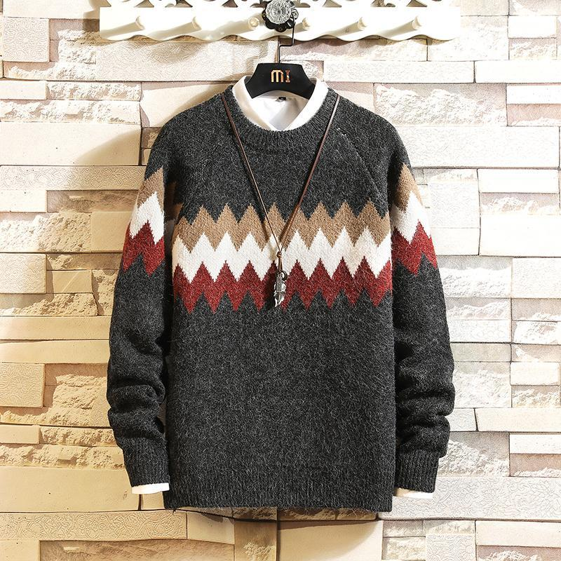 Men's Sweaters 2021 Black Long Sleeves Autumn Winter Pullover Knitted O-Neck Plus OverSize 5XL