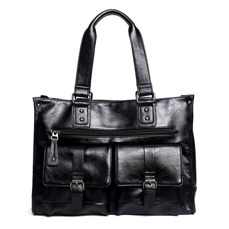 HBPMen Business for Multifunction Handbag Brand pu Leather Travel Tote bag male Large capacity laptop bags Q0112