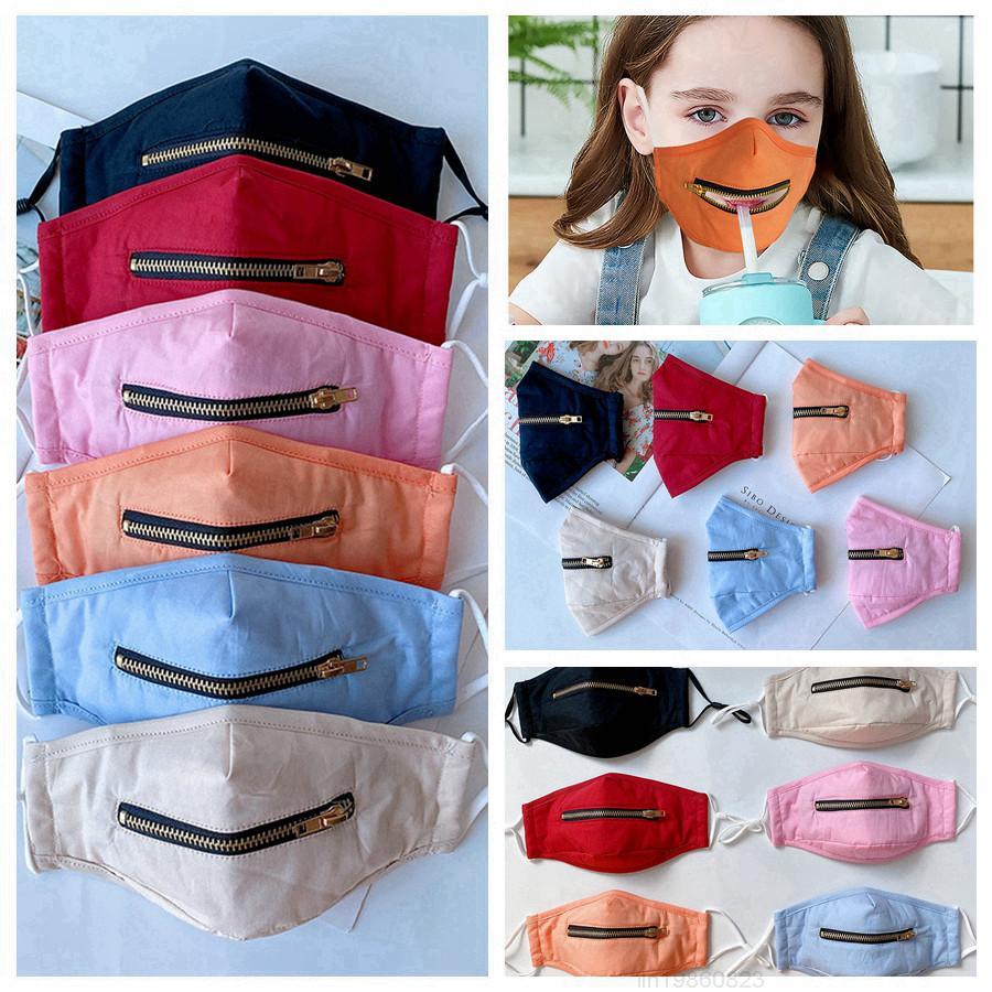 Zipper Kids 2 в 1 Маска для лица с регулируемыми детьми пылезащитные хлопковые моющиеся защитные дизайнерские маски 6Styles Rra3388