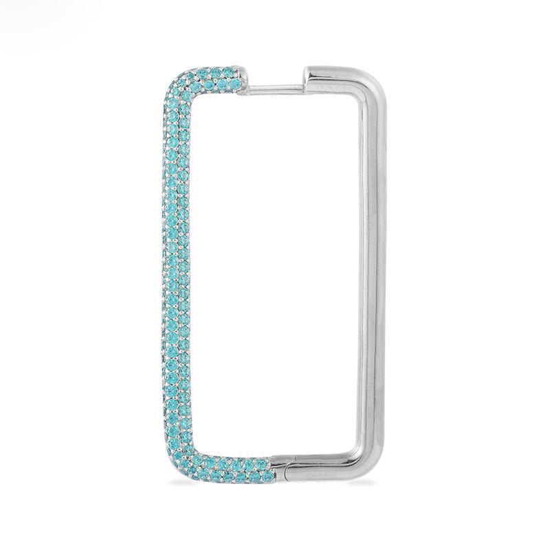 SLJELY Mode Real 925 Sterling Silber einzige lange Lagune Blau Rechteck Ohrring Micro Zirkonia 1pc für Frauen Marke Schmuck